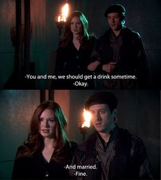 Rory Williams and Amy Pond. I love how Rory just goes with it! Its a beautiful wonderful thing! I will always miss the Ponds