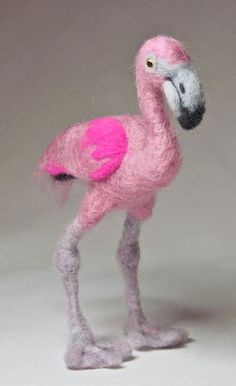 Needle Felted Pink Flamingo by featherheartcreations, via Flickr