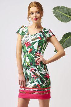 Krásné šaty z holandské dílny Smashed Lemon si zamilují všechny dámy, které se rády líbí. Šaty jsou vhodné na svatby, na obchodní schůzky i na běžné nošení. Bílý podklad s výraznými květy a listy a bordurou ve spodní části růžovými pruhy. Výstřih, krátký rukáv, pouzdrový střih. Zapínání na zip v zadní části. Materiál s jemnou strukturou a podšívkou (95% polyester, 5% spandex). Svůj outfit doplňte lodičkami a kabelkou z naší nabídky a výsledek bude dokonalý. Short Sleeve Dresses, Dresses With Sleeves, Fashion, Moda, Sleeve Dresses, Fashion Styles, Gowns With Sleeves, Fashion Illustrations