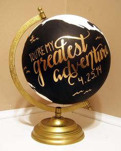 "Hand Painted 12"" Travel Globe, Gold Hand Lettering, Black and Gold, Wanderlust…"