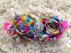 Tie Dye Shabby Flower Infant Headband by HannahHeadbands on Etsy, $7.00