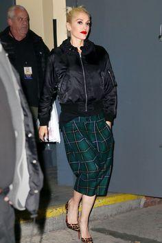 Gwen Stefani wearing  Christian Louboutin So Kate Leopard Pumps, Kei Ninomiya  Satin Braided Collar Bomber Jacket