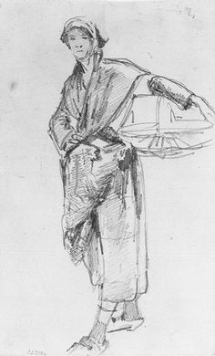 """John Singer Sargent - 1877 Breton Woman with a Basket, Sketch for """"Oyster Gatherers of Cancale"""" graphite on wove paper"""