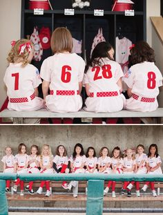 Vintage inspired girls baseball birthday party -- A League of their Own (I love this as a photo idea for girlfriends or a team)