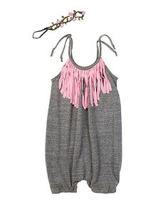 Loving this Heather Gray Bubble Fringe Romper & Headband - Infant & Toddler on #zulily! #zulilyfinds