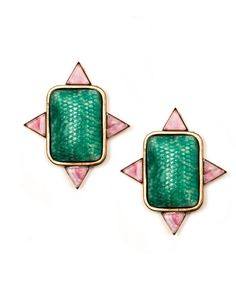 Xavier Earrings from Nicole Romano. For globally inspired jewels, all signs point here.    Vintage snakeskin engraved glass stone and marbleized rose glass triangle Post Light weight $150