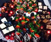 Great for Valentines Day - Mini Bites Tray with Mini Cheesecake, Chocolate Dipped Strawberry, Stuffed Raspberry, Brownie Bites, Fresh Berries   www.thewaterfallcafe.com