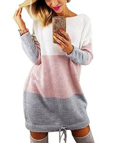 45b952b3e0 Minetom Automne Hiver Femme Pull Robe Col Rond Manche Longue Sweater Mini  Tricot Robe Pullover Blouse