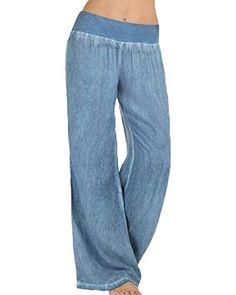 Women/'s Plus Size Biancheria Mix Tirare Su Pantaloni a gamba LARGA con tasche