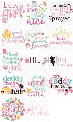 Baby Girl Sentiments is an adorable bundle of word art, SVG, clipart and printable files Applique Designs, Machine Embroidery Designs, Embroidery Applique, Word Art, Baby Girl Clipart, Baby Girl Scrapbook, Scrapbook Quotes, Baby Girl Cards, Baby Clip Art