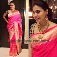 Kajol wearing soft silk saree in pink color with embroidery blouse Pink Saree Silk, Pink Saree Blouse, Saree Blouse Neck Designs, Organza Saree, Saree Blouse Patterns, Bridal Blouse Designs, Pure Silk Sarees, Pink Silk, Kajol Saree