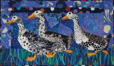 """Three Ducks 21"""" x 36"""" 53 x 91 cm  ©2011    Machine Pieced, Machine Quilted, Cotton Fabrics, Cotton Batting   by  Ruth B. McDowell   The color of quilts often comes from the fabrics I have on hand. I decided to use a great variety of the black-and-white prints for the ducks, then remembered the Alexander Henry blue-and green grass, then"""