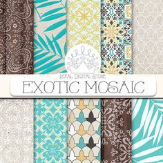 """Summer Digital Paper: """"EXOTIC MOSAIC"""" with arabesque patterns in teal. yellow, beige, wood texture, palm leaves for cards, scrapbooking #summerdigitalkit #moroccan #yellow #mint #woodtexture #digitalpaper #scrapbookpaper #shabbychic #planner #partysupplies"""