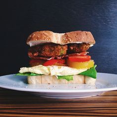 Fried Avocado, Bacon, Tomatoes, Egg And Lettuce W/ Mayo #homemade Sandwich