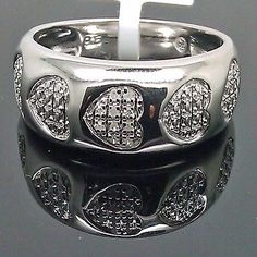 White Gold Finish Thick Band With Heart Shaped Diamond On It