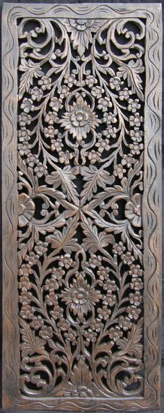 oblong carved wooden teak panel with flowers