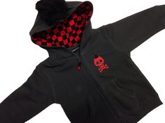 Black & red checkered mohawk boys alternative punk skull print hoodie www.alternatots.com