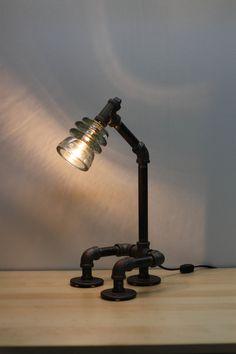 Glass Insulator Desk Lamp RetroIndustrial Styling by luceantica