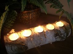 Wooden Candle Holder - Great idea to be used as a Yule log if you don't have a fireplace.
