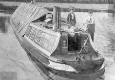 "Captioned: ""SWAN at Brentford, with C Newton at tiller""  #fmc #fellows #morton #clayton #uxbridge #steam #wideboat #london #brentford #barge #hillingdon #middlesex"