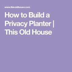 How to Build a Privacy Planter   This Old House