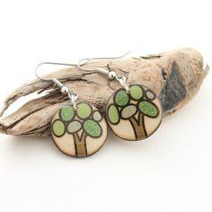 Lightweight Wood Tree Earrings Wood Dangle Earrings Everyday