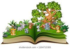 "Stock ilustrace ""Open Book Animal Cartoon Playing Park"" 1204715365 Animal Books, Open Book, Vector Freepik, Cartoon, Park, Illustration, Animals, Naturaleza, Green"
