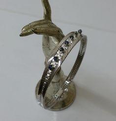 Vintage Armschmuck - Klassisches Armband Silber 835 und 7 Saphire SA297 - ein Designerstück von Atelier-Regina bei DaWanda