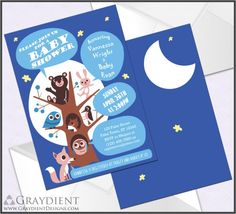 Woodland Animals Baby Shower Invitations for Boy – Custom, Printed Flat Invites with Envelopes – Creatures, Blue, Owl, Bear, Moon, Stars