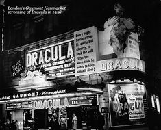 The Dracula premier at London's Gaumont Haymarket Theatre, Hammer Horror Films, Hammer Films, Horror Movies, Hammer Movie, Vintage Movie Theater, Vintage Movies, Vladimir Nabokov, Halloween Countdown, Horror House