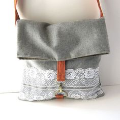 Vintage Lace on Gray Wool Foldover Tote This tote folds over to keep all your belongings safe inside My Bags, Purses And Bags, Foldover Bag, Fabric Bags, Clutch, Cute Bags, Handmade Bags, Vintage Lace, Bag Making