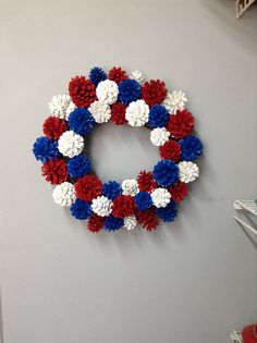 Patriotic pinecone wreath. Patriotic decor. by SheilasGardenGirls