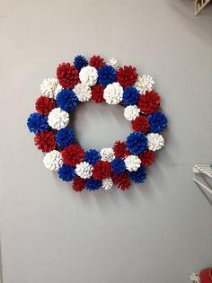 Patriotic pinecone wreath. Patriotic decor. by SheilasGardenGirls