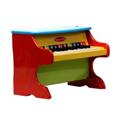 The Upright Piano from Melissa and doug is the ideal toy for young maestros. This sturdy piano is built to last and is brightly colored. It features over twenty-five keys and two full octaves. Each ke