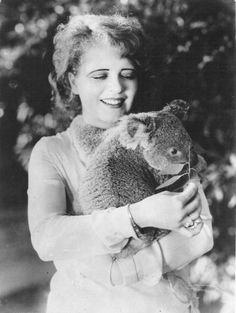 Clara Bow and a baby koala