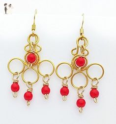 Gold Plated Dangle Chandelier Earrings with Red Beads - Wedding earings (*Amazon Partner-Link)