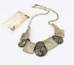 Personality collar necklace - Geometic Design - Large Ovals and Squares Collar Necklace, Tassel Necklace, Pendant Necklace, Necklaces, Discount Online Shopping, Fashion Jewellery Online, Trendy Accessories, Fashion Necklace, Women Wear
