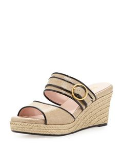 Exclusively ours.Taryn Rose slide in coated canvas with patent piping.3 braided jute wedge heel.1 platform 2 equivalent.Doublebanded vamp open toe.Poron174 cushioned leather footbed.Arch support decreases fatigue in the lower back.Leather lining and sole.Kati is imported. #Fashion  #NeimanMarcus