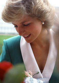 Princess Diana visiting Kew Gardens in London, photo taken by Michael Hudson.