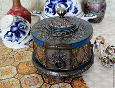 шкатулка - синий,шкатулка для украшений,шкатулка декупаж,шкатулка деревянная