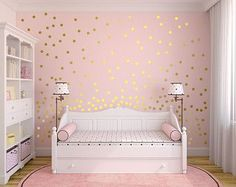 "Metallic Gold Wall Decals Polka Dot Wall Sticker Decor - 1"" Inch, 1.5"",2"",2.5"",3"", 3.5"", 4""  Inches Circle Vinyl Wall Decal"