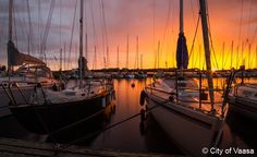 Finland Boat water sky outdoor reflection docked Sunset scene vehicle Harbor evening dock marina morning pier sailboat watercraft Sea dusk cloudy tied several Best Cities, Water Crafts, Archipelago, Beautiful Sunset, Where To Go, Sunsets, Sailing, National Parks, Coast