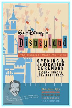 1955 Disneyland Opening Day Poster Walt Disney Reagan Buy Any 2 Get 1 Free Vintage Disney Posters, Retro Disney, Disney Love, Disney Magic, Disney Art, Disney Pixar, Walt Disney World, Punk Disney, Vintage Mickey
