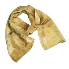 "Leaf Print Silk Scarf 33, shiny charmeuse, 8"" x 50"""
