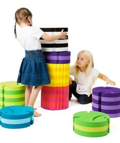 The Fish is available in two sizes and can be stacked. The low one is for the child who has just learned to sit. The big one is for the older child, and stacked, they fit teenagers and grown-ups. It h
