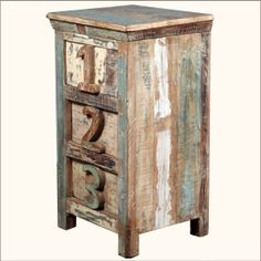 1-2-3 Reclaimed Wood Night Stand End Table w Drawers