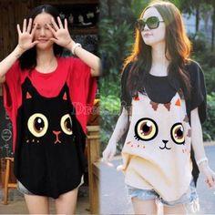 Women Loose Big Size Bat Sleeve T-shirt Cat Pattern Round Collar