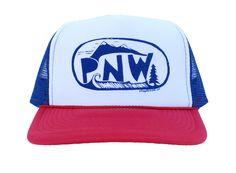 Give a nod to the Pacific Northwest in this red, white and blue handprinted hat. Product Details ·Made ethically of 100% polyester ·Adjustable snapback closure