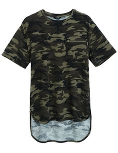 ba2f7281f1d0 Mens Summer Hipster Hip Hop Camo-Camouflage T Shirts Longline Tee With  Zipper Pocket - Army Green - CL183EZZT4R