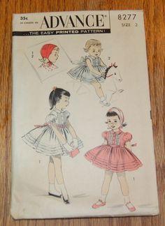 1950s Childs Dress and Cap Advance 8277 Sz 2 Girls Vintage Kids